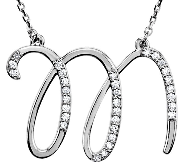 "Diamond Initial Letter 'M' Rhodium-Plated 14k White Gold Pendant Necklace, 17"" (GH, I1, 1/6 Ctw)"
