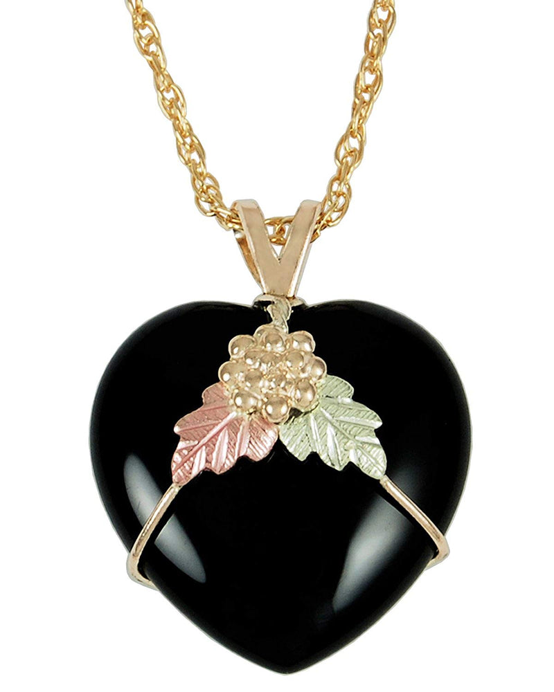 Onyx Heart Pendant Necklace, 10k Yellow Gold, 12k Green and Rose Gold Black Hills Gold Motif, 18""