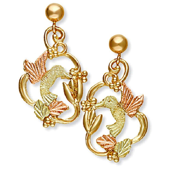 Hand-Engraved Hummingbird Earrings, 10k Yellow Gold, 12k Green and Rose Gold Black Hills Gold Motif