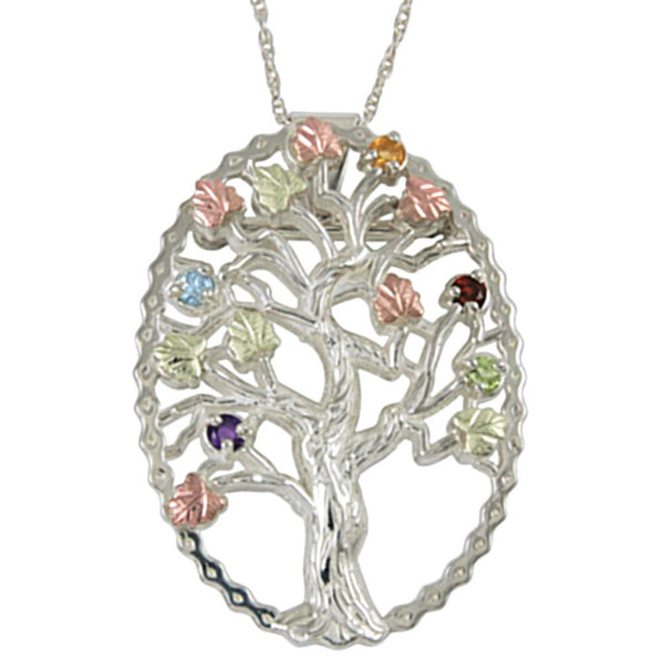 Multi Gemstone Tree Pendant Necklace, Sterling Silver, 12k Green and Rose Gold Black Hills Gold Motif, 18""
