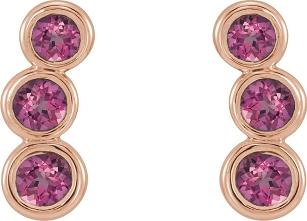 Pink Tourmaline Three-Stone Ear Climbers, 14k Rose Gold