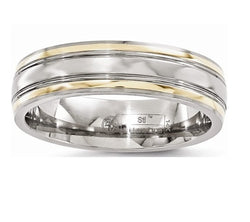 Gold Inlay Collection Titanium, 14k Yellow Gold 6mm Dome Band