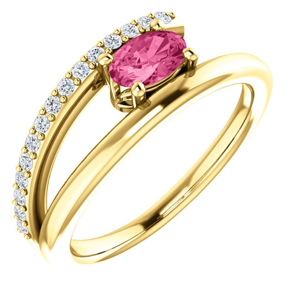 Pink Tourmaline and Diamond Bypass Ring, 14k Yellow Gold (.125 Ctw, G-H Color, I1 Clarity)