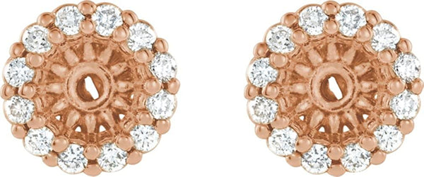 Diamond Cluster Earring Jackets,14k Rose Gold (3.6MM) (0.125 Ctw, G-H Color, I2 Clarity)