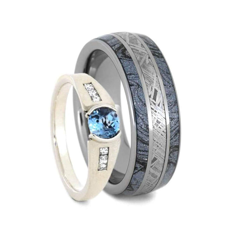 Blue Topaz, Meteorite, Mokume, Tungsten Comfort-Fit Sterling Silver Sleeve Couples Wedding Band Set