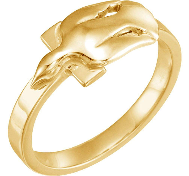 10k Yellow Gold Dove Cross 'Holy Spirit' Ring, Size 7.75
