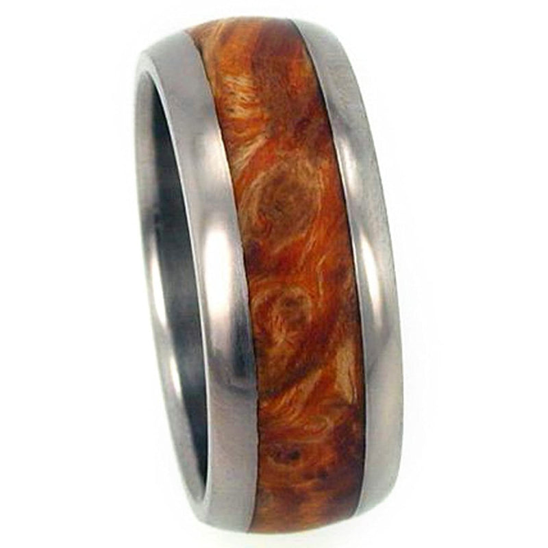 The Men's Jewelry Store (Unisex Jewelry) Gold Box Elder Burl Inlay 10mm Comfort-Fit Titanium Wedding Band