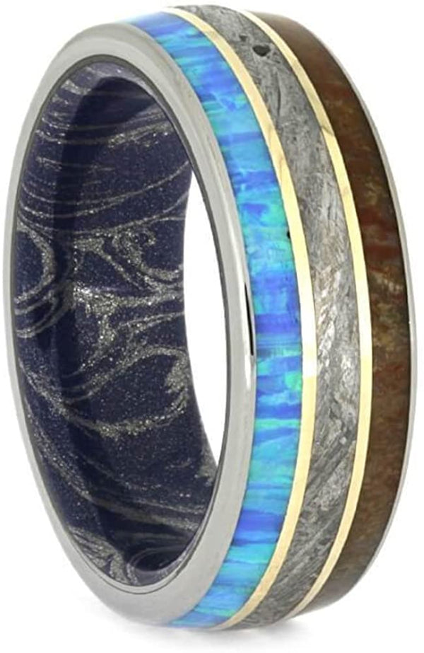 Synthetic Opal, Dinosaur Bone, Meteorite, 14k Yellow Gold, Titanium 8mm Comfort-Fit Mokume Sleeve Band, Size 10.25