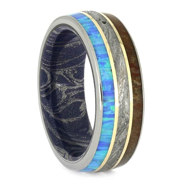 The Men's Jewelry Store (Unisex Jewelry) Synthetic Opal, Dinosaur Bone, Meteorite, 14k Yellow Gold, Titanium 8mm Comfort-Fit Mokume Sleeve Band
