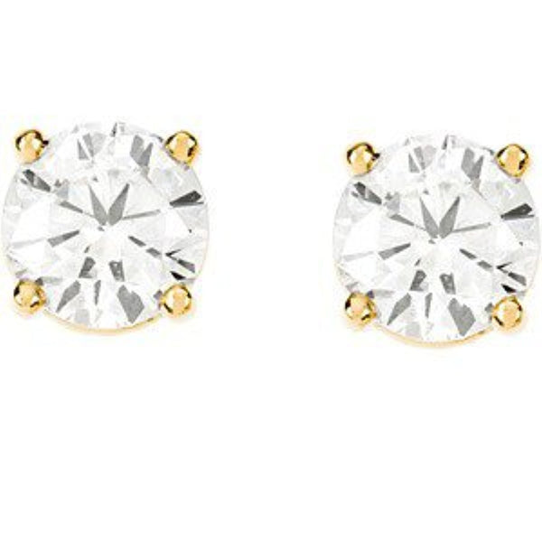 1 1/2 Ct 14k Yellow Gold Diamond Stud Earrings (1.50 Cttw, GH Color, I1 Clarity)