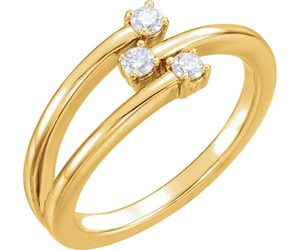 3-Stone Diamond Past, Present, Future Ring, 14k Yellow Gold, Size 7 (.20 Ctw, GH Color, I1 Clarity)