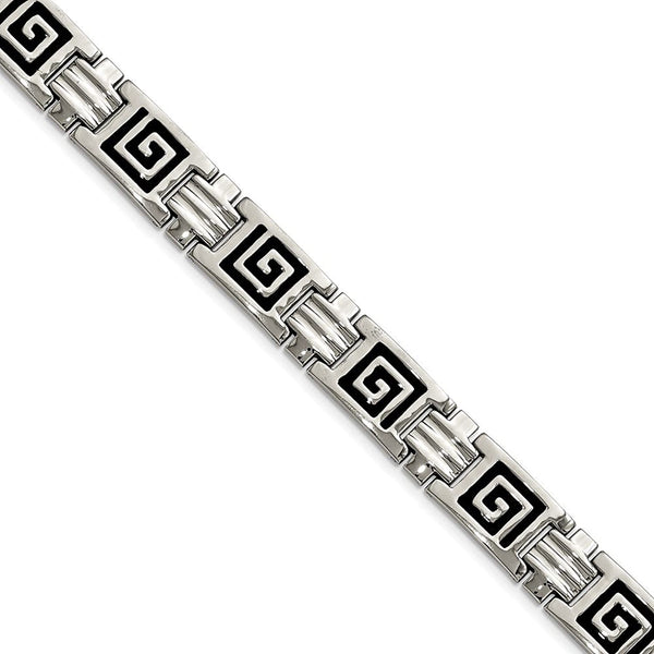 Men's Polished Stainless Steel 11mm Black Enamel Bracelet, 9""