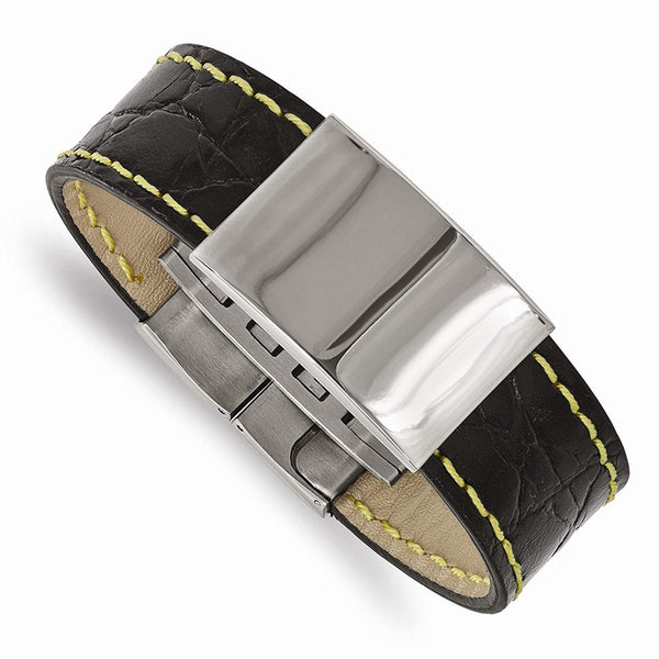 Men's Polished Stainless Steel Black Leather with Yellow Stitch ID Bracelet 8.5""