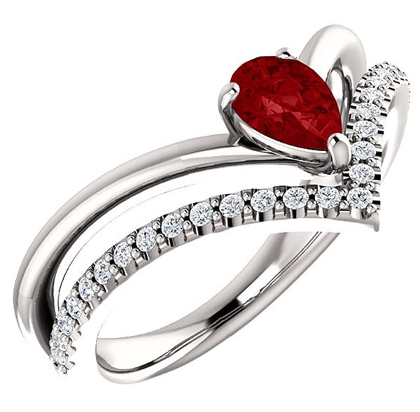 Ruby Pear and Diamond Chevron Platinum Ring (.145 Ctw, G-H Color, SI2-SI3 Clarity), Size 7.5