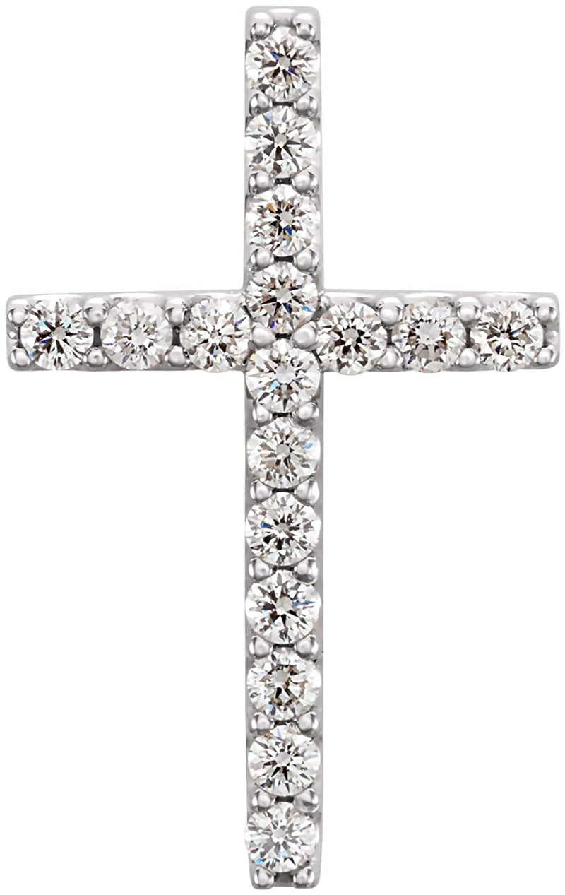 17-Stone Diamond Petite Cross Pendant in 14k White Gold (1/4 Ctw, GH Color, I1 Clarity)