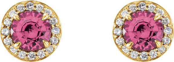 Pink Tourmaline and Diamond Halo-Style Earrings, 14k Yellow Gold (3.5MM) (.125 Ctw, G-H Color, I1 Clarity)