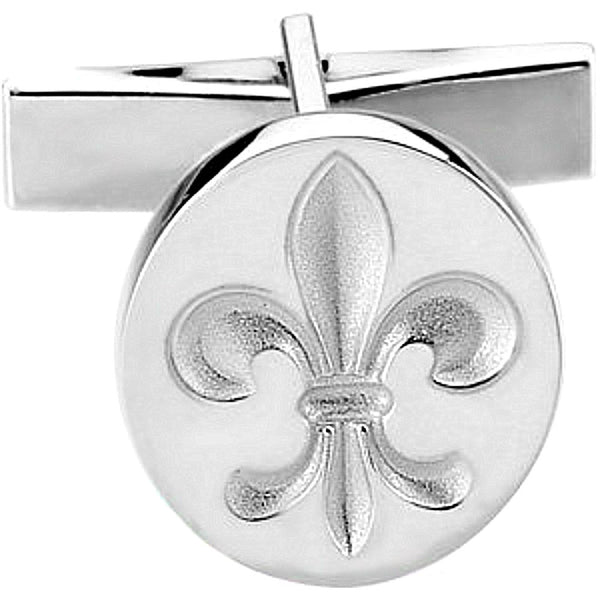 Rhodium-Plated 14k White Gold Fleur De Lis Round Cuff Link (Single Cuff Link), 16.25MM