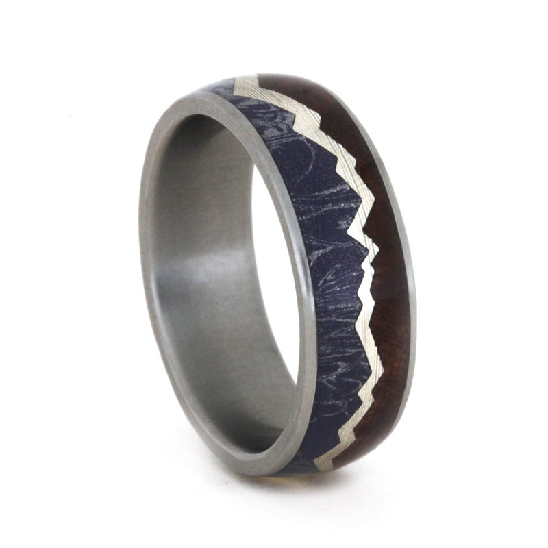 Redwood Mountain Design with Blue, Bronze, Silver Mokume, Sterling Silver 7mm Comfort-Fit Matte Titanium Band