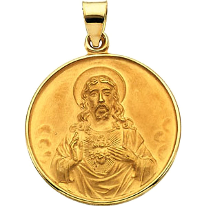 18k Yellow Gold Sacred Heart Medal (13 MM)