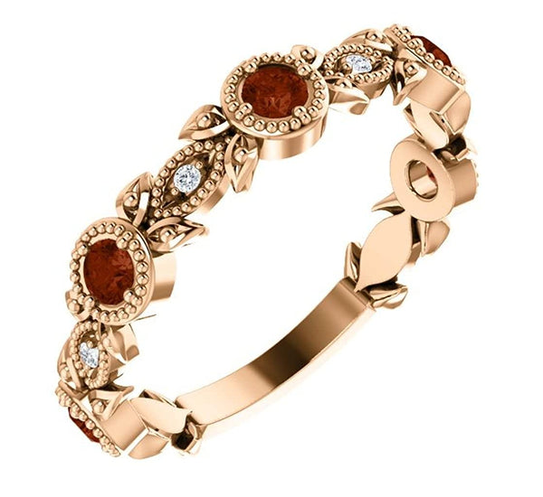 Mozambique Garnet and Diamond Vintage-Style Ring, 14k Rose Gold, Size 6.5