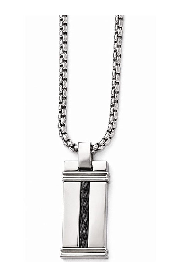 Edward Mirell Black Titanium and Cable Pendant Necklace, 20""