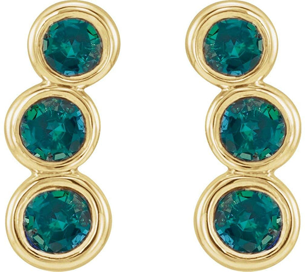 Chatham Created Alexandrite Three-Stone Ear Climbers, 14k Yellow Gold