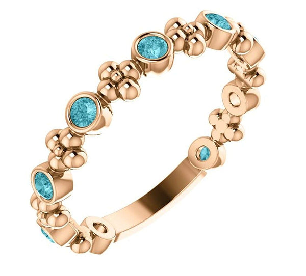 Genuine Blue Zircon Beaded Ring, 14k Rose Gold