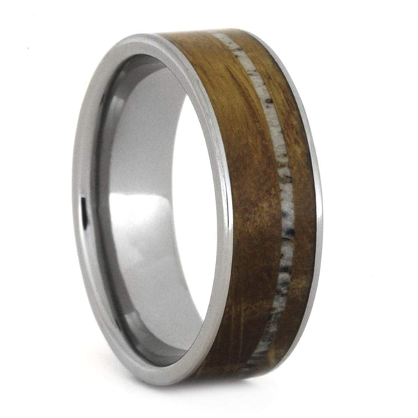 Whiskey Barrel Oak Wood, Deer Antler 7mm Comfort-Fit Titanium Band