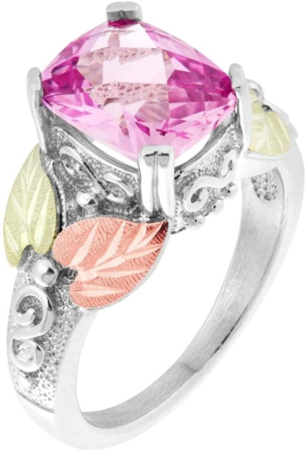 Rhodium-Plated Sterling Silver Cushion-Cut Created Pink Sapphire Ring, 12k Rose and Green Gold Black Hills Gold, Size 4.5