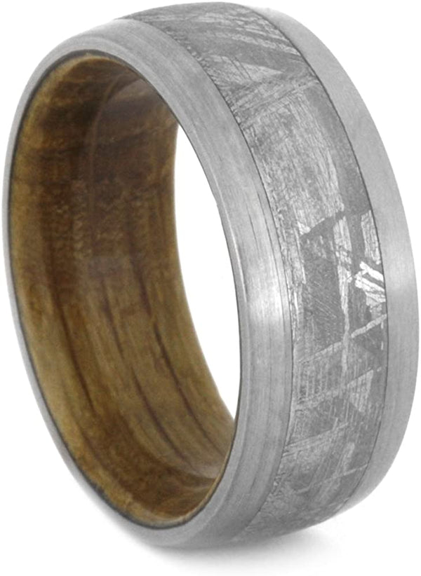 Whiskey Barrel Oak Wood, Gibeon Meteorite 9mm Comfort-Fit Brushed Titanium Band, Size 14