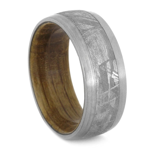 Whiskey Barrel Oak Wood, Gibeon Meteorite 9mm Comfort-Fit Brushed Titanium Band