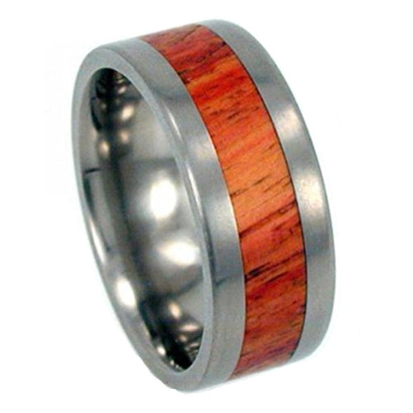 Tulip Wood Inlay 8mm Comfort Fit Titanium Band, Size 10