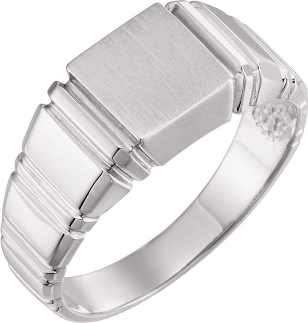 Men's Open Back Square Signet Ring, Rhodium-Plated 10k White Gold (11mm)