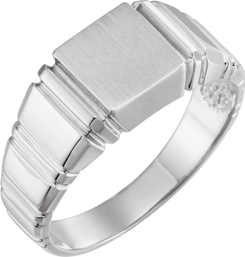 Men's Open Back Square Signet Semi-Polished 18k Palladium White Gold Ring (11mm) Size 10