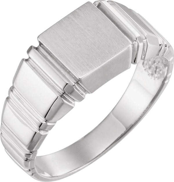 Men's Open Back Square Signet Ring, 18k White Gold (9mm)