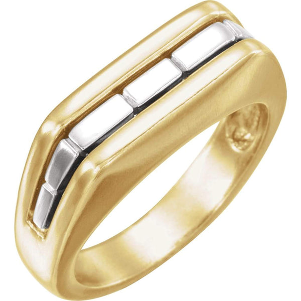 Two-Tone Men's Ring, Rhodium-Plated 10k Yellow and White Gold