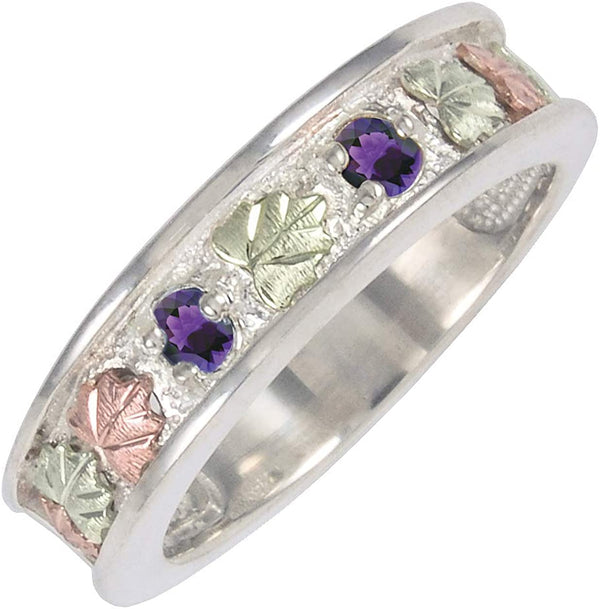 Black Hills Gold Amethyst Sterling Silver, 12k Rose Gold, 12k Green Gold Ring, Size 12.5