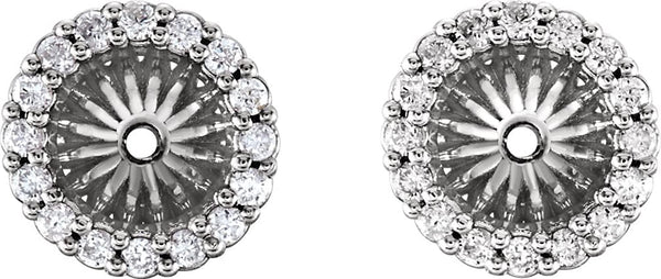 Diamond Cluster Earring Jackets, Rhodium-Plated 14k White Gold (4.6 MM) (0.16 Ctw, G-H Color, I2 Clarity)