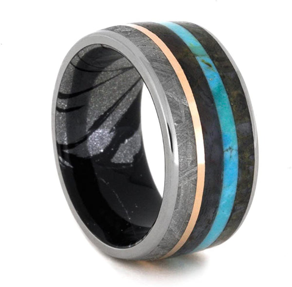 Dinosaur Bone, Meteorite, Petrified Wood, 14k Rose Gold, Turquoise, Titanium, 10mm Black and White Mokume Gane Band