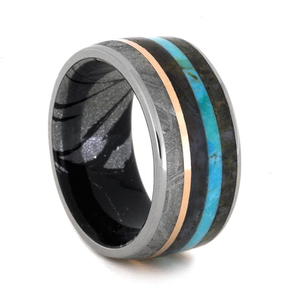 Turquoise, Dinosaur Bone, Meteorite, Petrified Wood, 14k Rose Gold, Black and White Mokume Gane 10mm Comfort-Fit Titanium Band