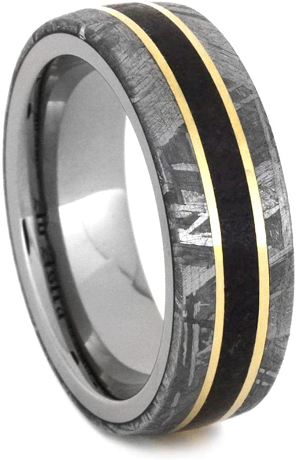 Gibeon Meteorite, Dinosaur Bone, 14k Yellow Gold 7mm Comfort-Fit Titanium Band, Size 12.5