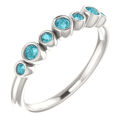 Blue Zircon 7-Stone 3.25mm Ring, Sterling Silver, Size 6