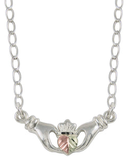 Claddagh Pendant Necklace, Sterling Silver, 12k Green and Rose Gold Black Hills Gold Motif, 18""