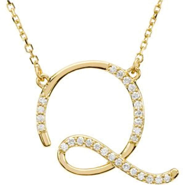 "14k Yellow Gold Alphabet Initial Letter Q Diamond Pendant Necklace, 17"" (GH Color, I1 Clarity, 1/6 Cttw)"