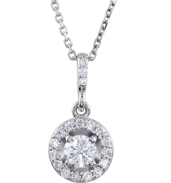 "Diamond Halo Round Pendant Necklace, Rhodium Plate 14k White Gold, 18"" (3/4 Ctw, GH Color, I1 Clarity)"
