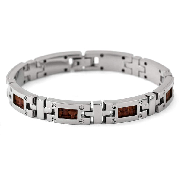 Men's Texture Collection Gray Titanium and Brown Leather Bracelet, 8""