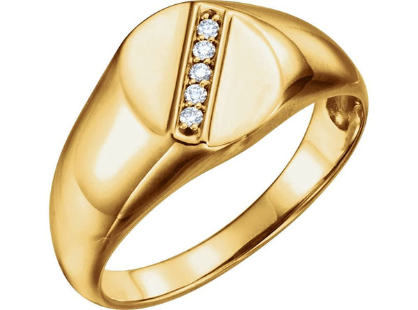 Men's 14k Yellow Gold Diamond Journey Ring (.08 Ctw, G-H Color, I1 Clarity) Size 10.5