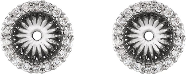 Diamond Cluster Earring Jackets, Rhodium-Plated 14k White Gold (6.1 MM) (0.2 Ctw, G-H Color, I2 Clarity)