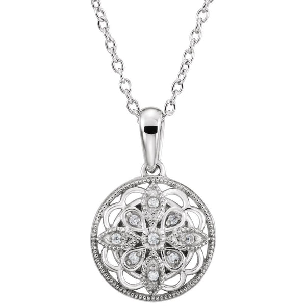 "Diamond Round Vintage Style Sterling Silver Pendant Necklace, 18"" (.05 Cttw)"