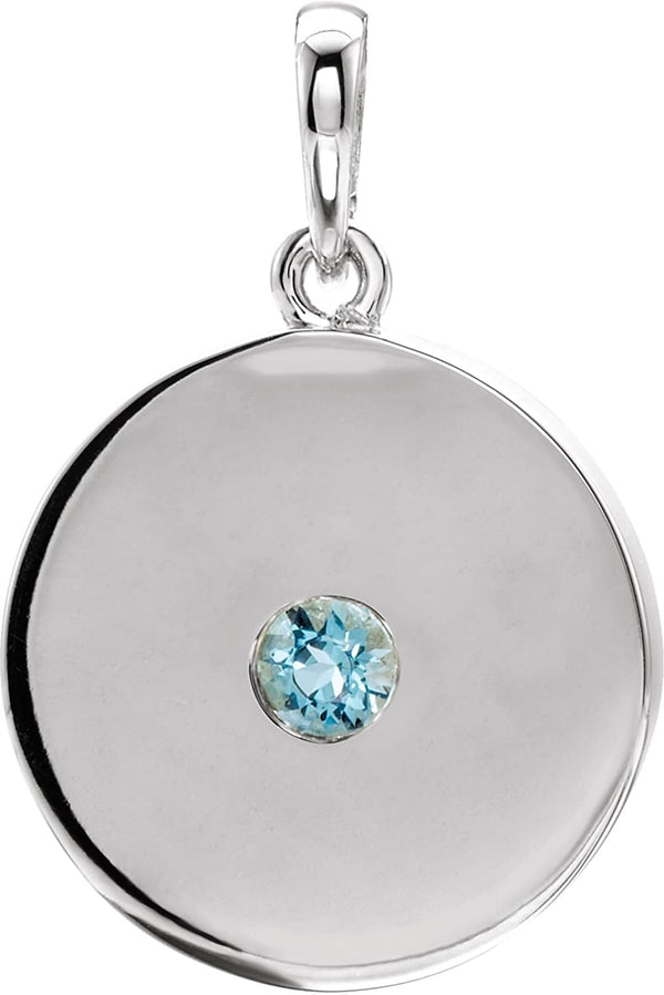 Round Aquamarine Disc Pendant, Rhodium-Plated 14k White Gold